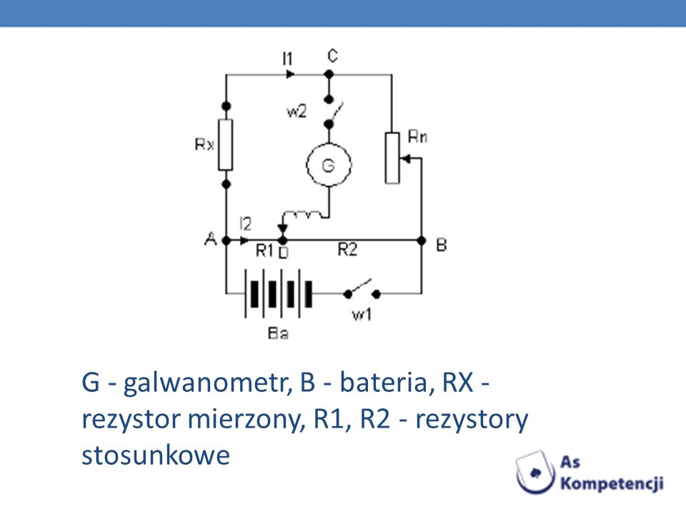 G - galwanometr, B - bateria, RX - rezystor mierzony, R1, R2 - rezystory