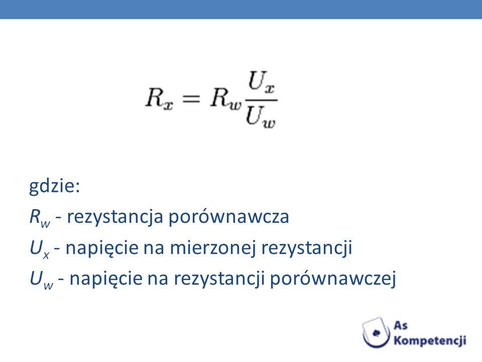 gdzie: Rw - rezystancja porównawcza Ux - napięcie na mierzonej rezystancji Uw - napięcie na rezystancji porównawczej