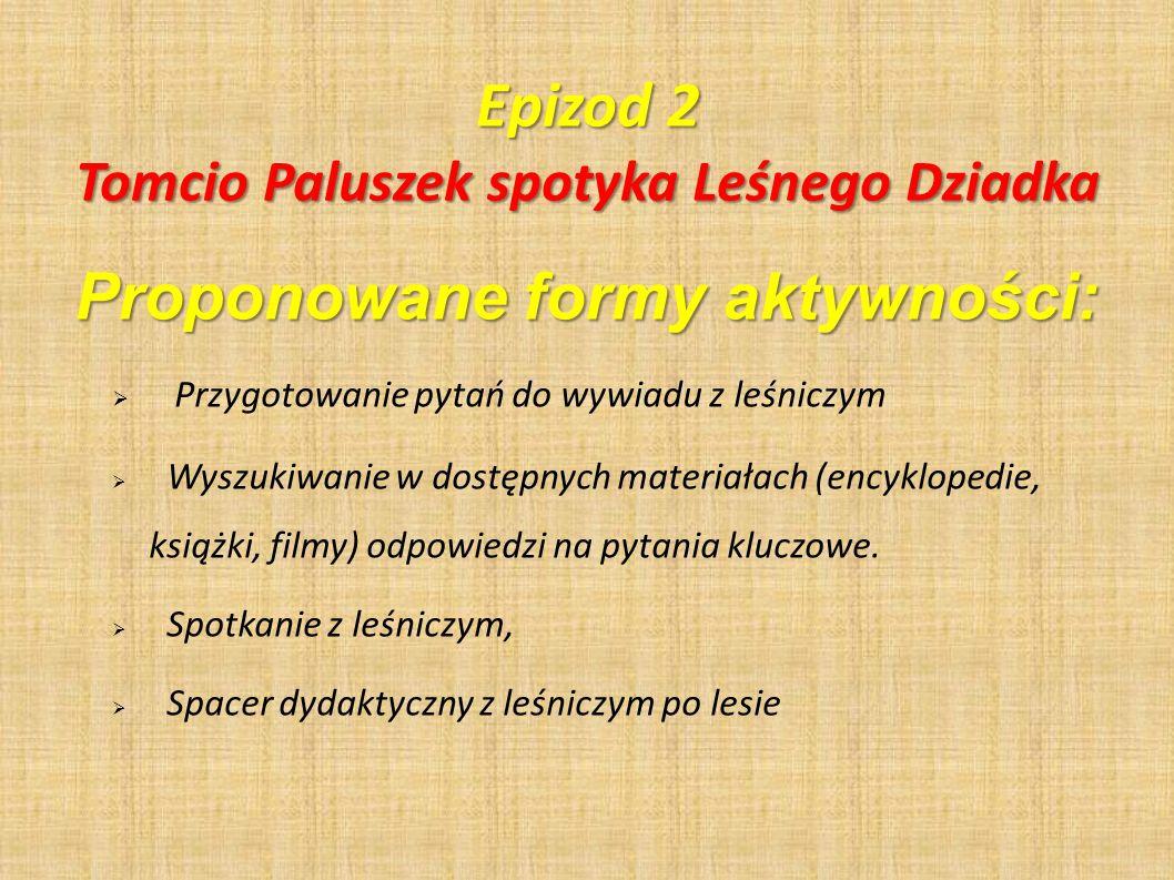 Tomcio Paluszek spotyka Leśnego Dziadka Proponowane formy aktywności:
