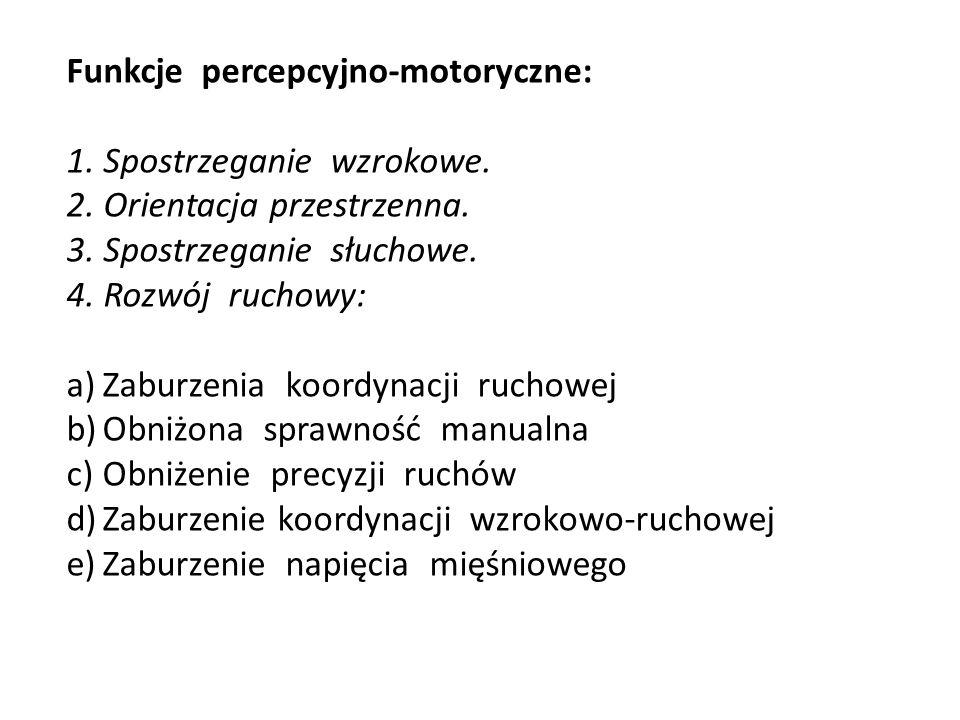 Funkcje percepcyjno-motoryczne: