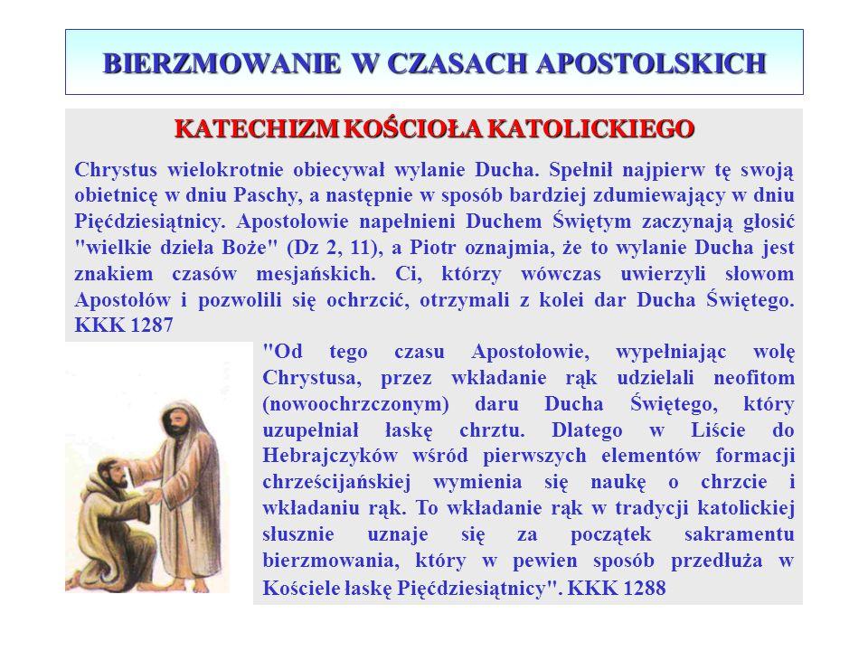BIERZMOWANIE W CZASACH APOSTOLSKICH