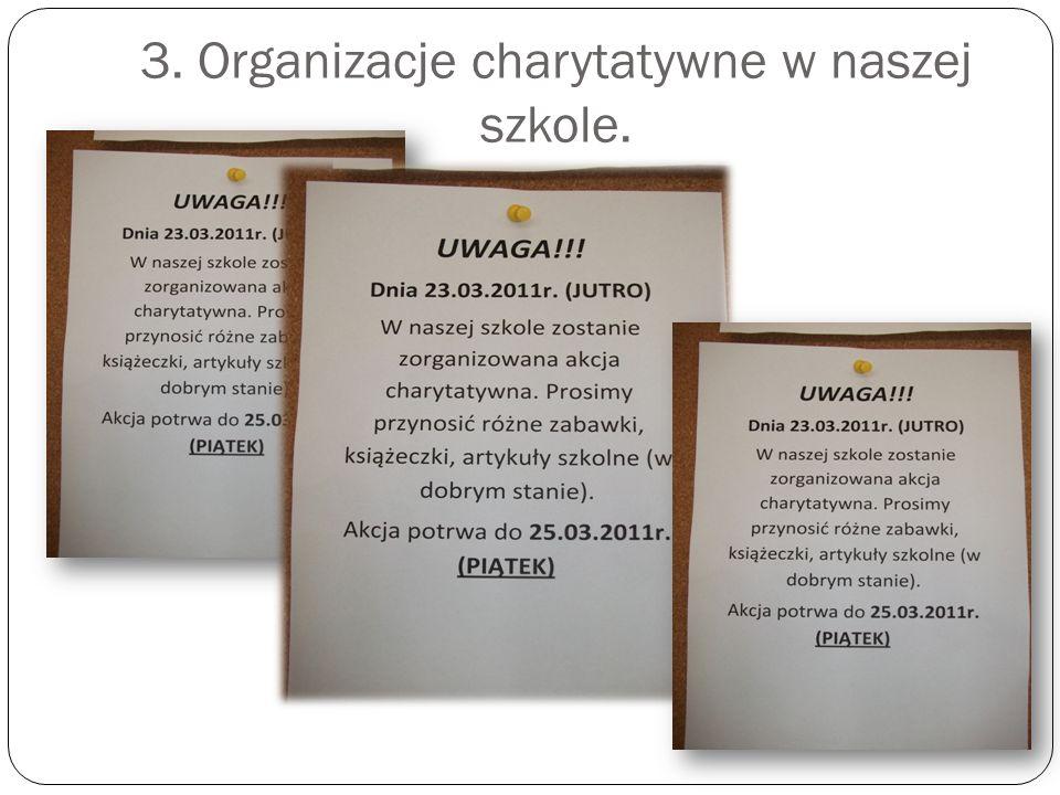 3. Organizacje charytatywne w naszej szkole.