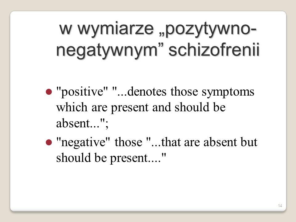 """w wymiarze """"pozytywno-negatywnym schizofrenii"""