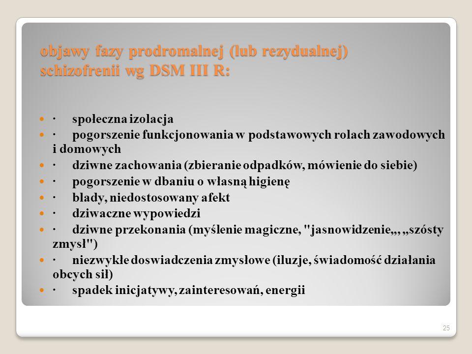 objawy fazy prodromalnej (lub rezydualnej) schizofrenii wg DSM III R: