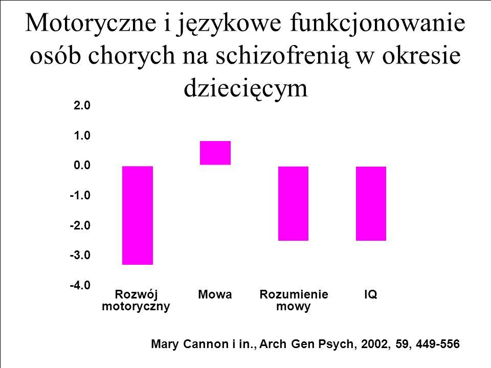 Motoryczne i językowe funkcjonowanie osób chorych na schizofrenią w okresie dziecięcym