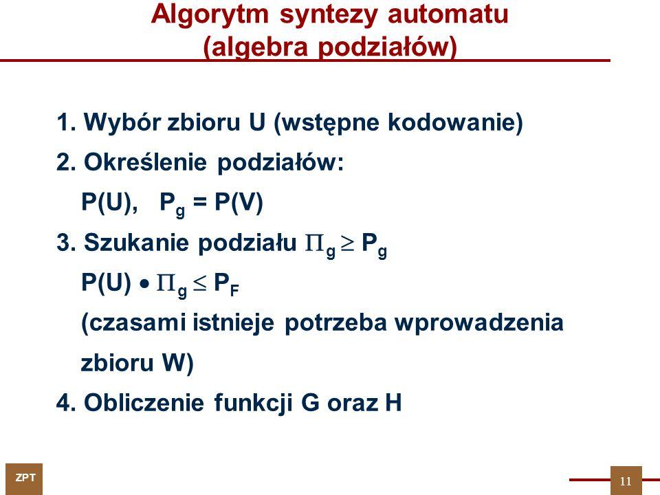 Algorytm syntezy automatu (algebra podziałów)