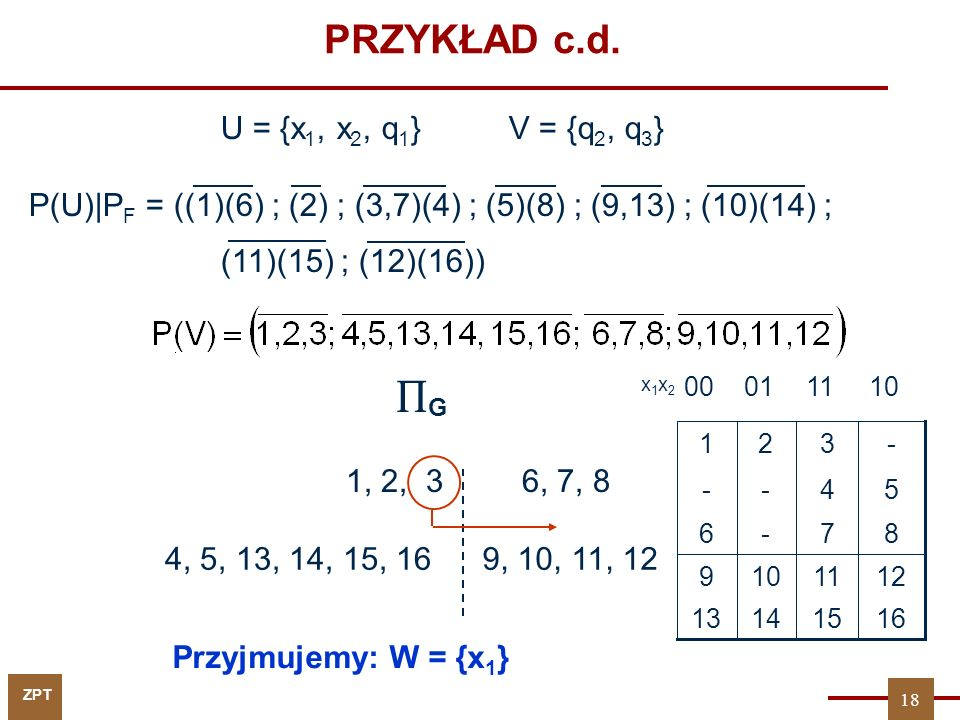 PRZYKŁAD c.d. G U = {x1, x2, q1} V = {q2, q3}
