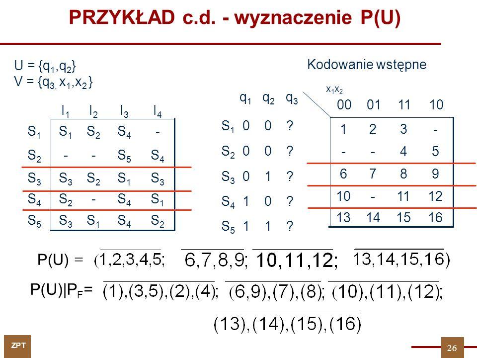 PRZYKŁAD c.d. - wyznaczenie P(U)