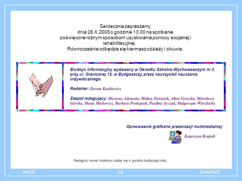Opracowanie graficzne prezentacji multimedialnej: