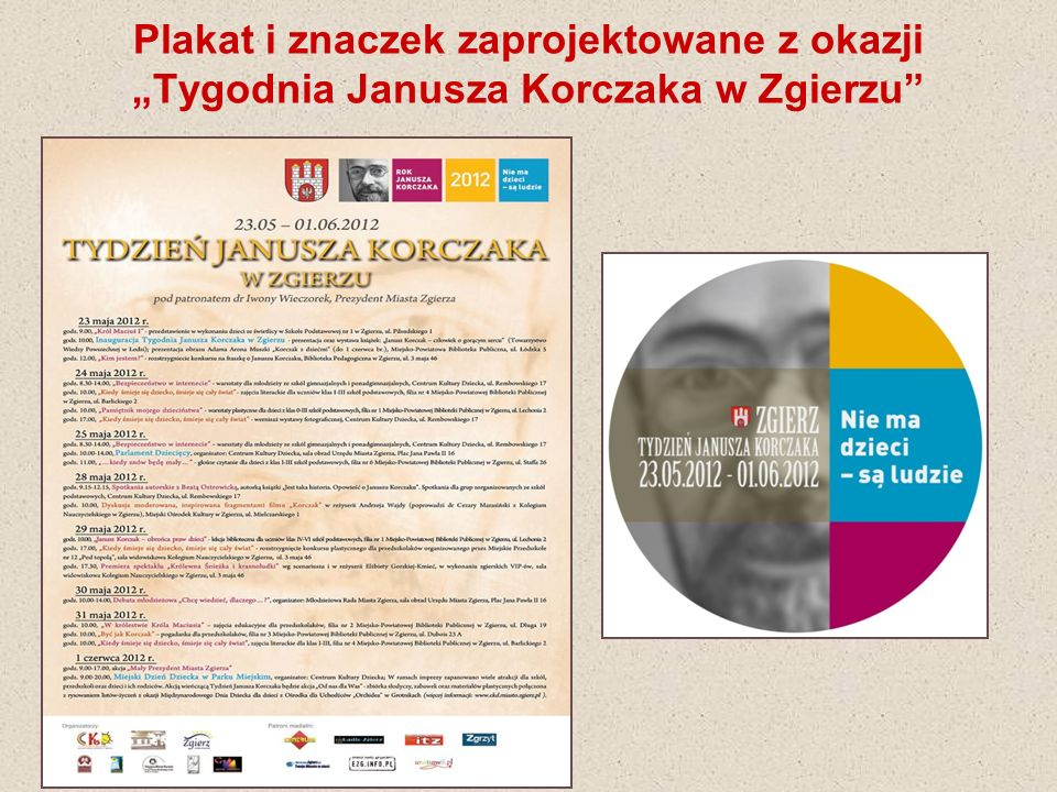 """Plakat i znaczek zaprojektowane z okazji """"Tygodnia Janusza Korczaka w Zgierzu"""