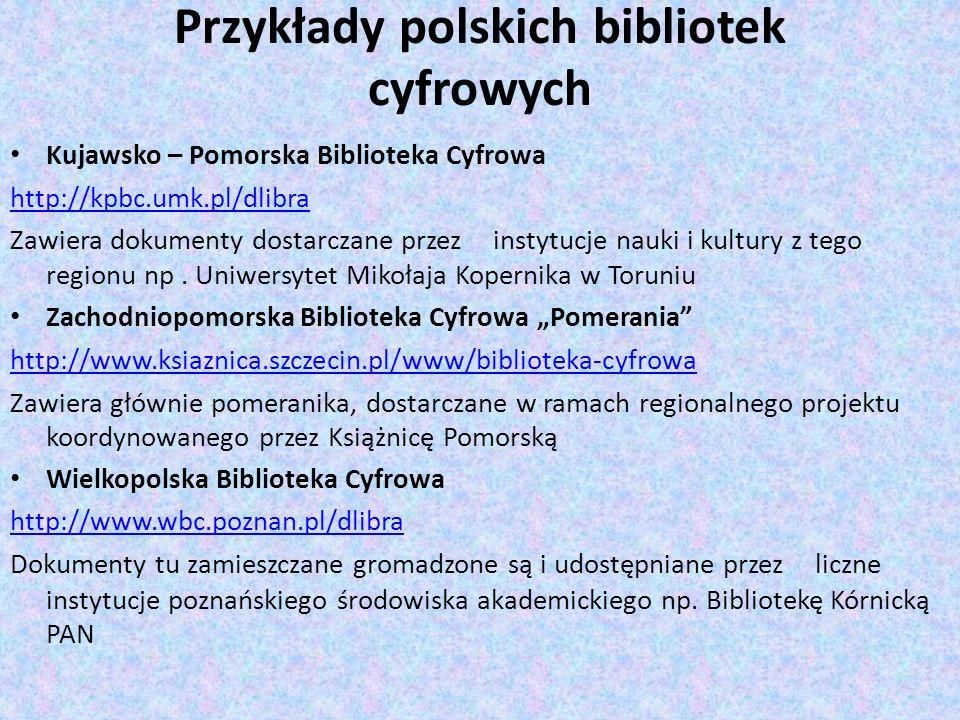 Przykłady polskich bibliotek cyfrowych