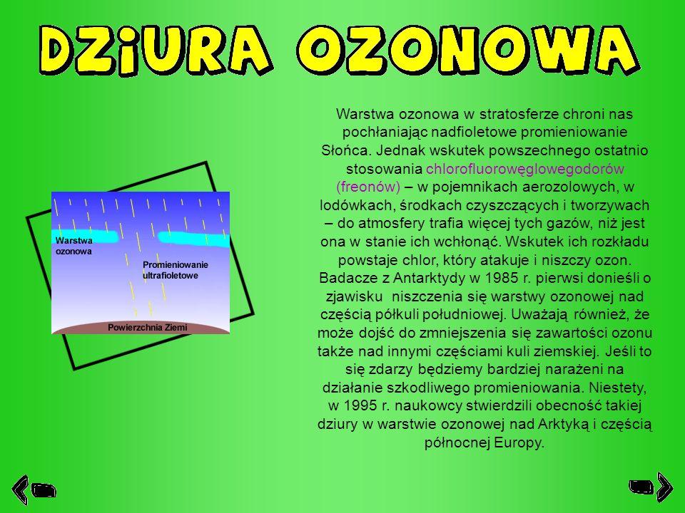 Warstwa ozonowa w stratosferze chroni nas pochłaniając nadfioletowe promieniowanie Słońca.