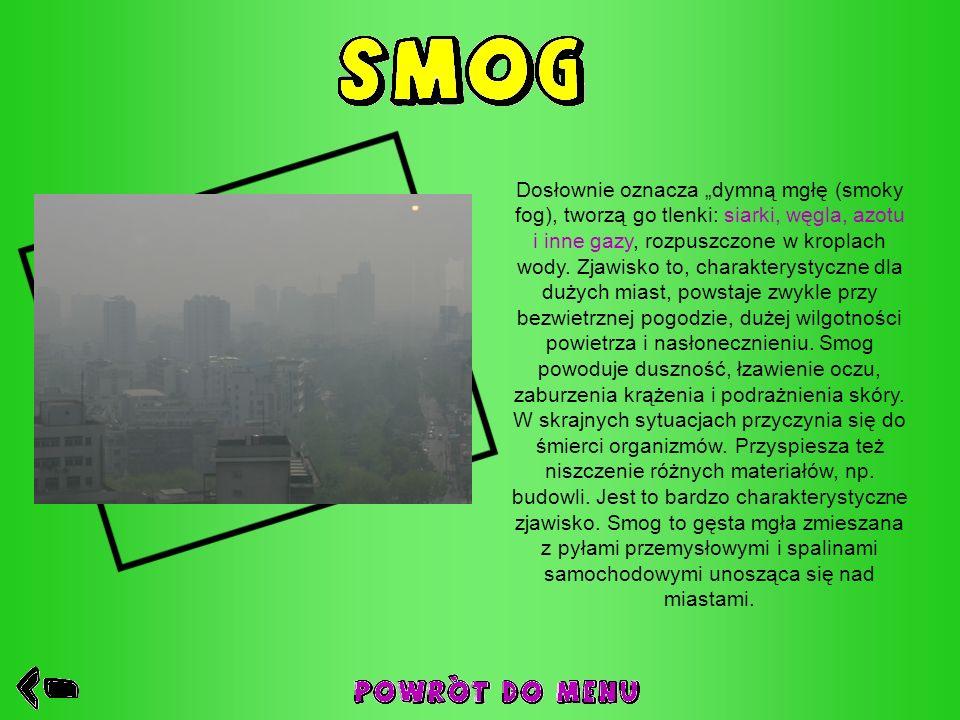 """Dosłownie oznacza """"dymną mgłę (smoky fog), tworzą go tlenki: siarki, węgla, azotu i inne gazy, rozpuszczone w kroplach wody."""