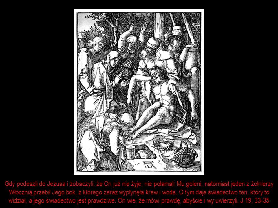 Gdy podeszli do Jezusa i zobaczyli, że On już nie żyje, nie połamali Mu goleni, natomiast jeden z żołnierzy
