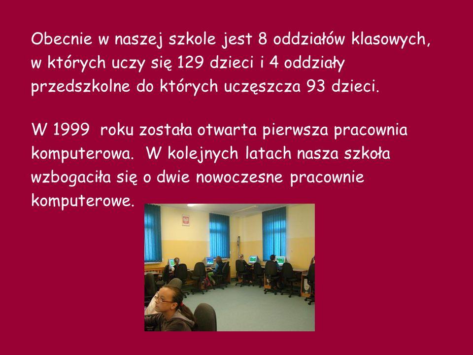 Obecnie w naszej szkole jest 8 oddziałów klasowych, w których uczy się 129 dzieci i 4 oddziały przedszkolne do których uczęszcza 93 dzieci.