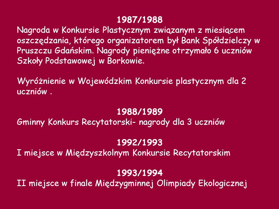 1987/1988 Nagroda w Konkursie Plastycznym związanym z miesiącem oszczędzania, którego organizatorem był Bank Spółdzielczy w Pruszczu Gdańskim.