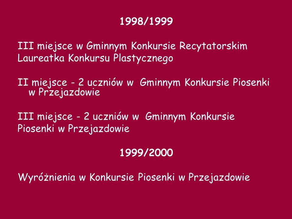 1998/1999III miejsce w Gminnym Konkursie Recytatorskim. Laureatka Konkursu Plastycznego.