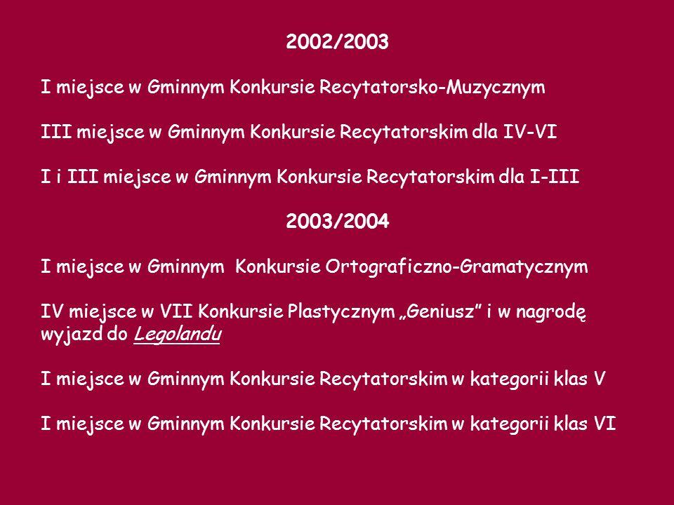 2002/2003 I miejsce w Gminnym Konkursie Recytatorsko-Muzycznym. III miejsce w Gminnym Konkursie Recytatorskim dla IV-VI.