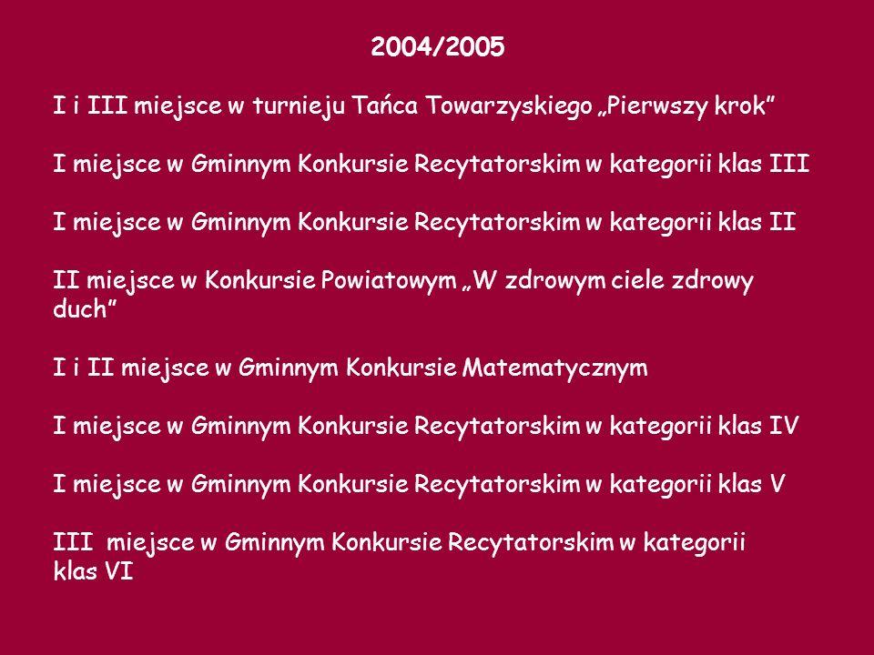 """2004/2005 I i III miejsce w turnieju Tańca Towarzyskiego """"Pierwszy krok I miejsce w Gminnym Konkursie Recytatorskim w kategorii klas III."""