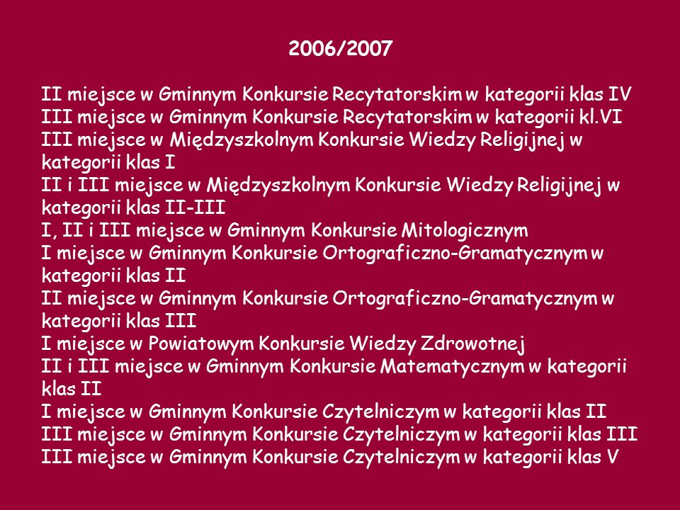 2006/2007II miejsce w Gminnym Konkursie Recytatorskim w kategorii klas IV. III miejsce w Gminnym Konkursie Recytatorskim w kategorii kl.VI.