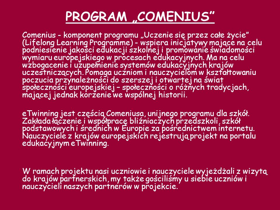 "PROGRAM ""COMENIUS"