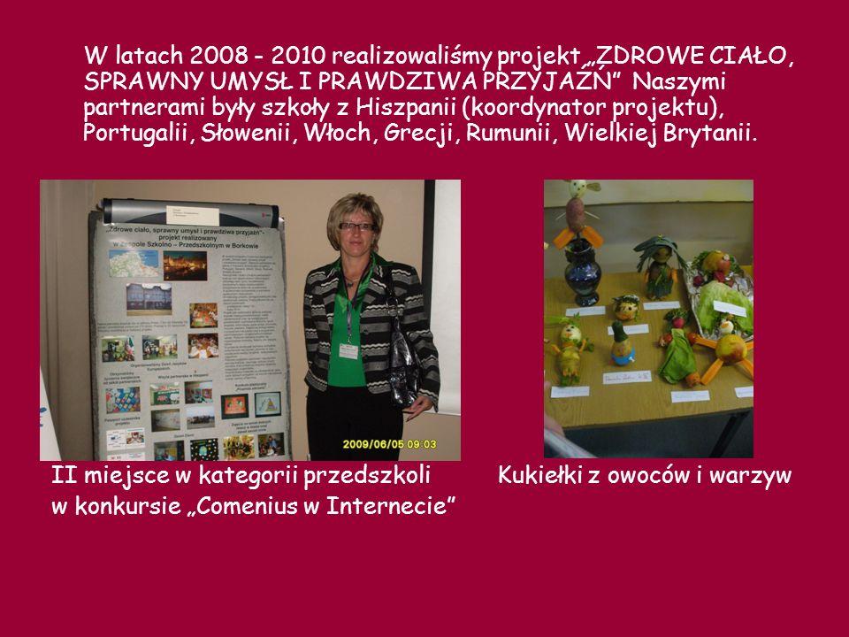 """W latach 2008 - 2010 realizowaliśmy projekt """"ZDROWE CIAŁO, SPRAWNY UMYSŁ I PRAWDZIWA PRZYJAŹŃ Naszymi partnerami były szkoły z Hiszpanii (koordynator projektu), Portugalii, Słowenii, Włoch, Grecji, Rumunii, Wielkiej Brytanii."""