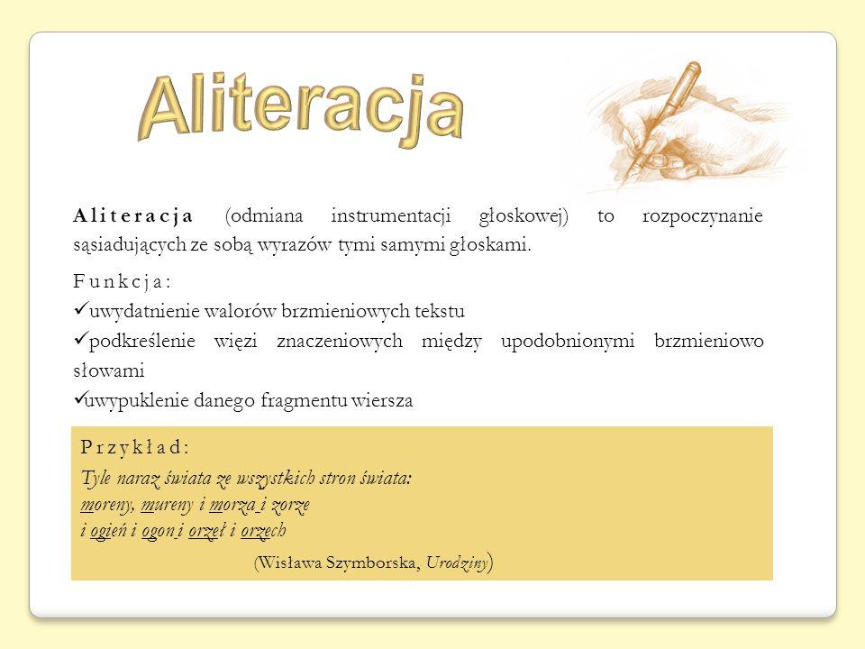 Aliteracja (Wisława Szymborska, Urodziny)