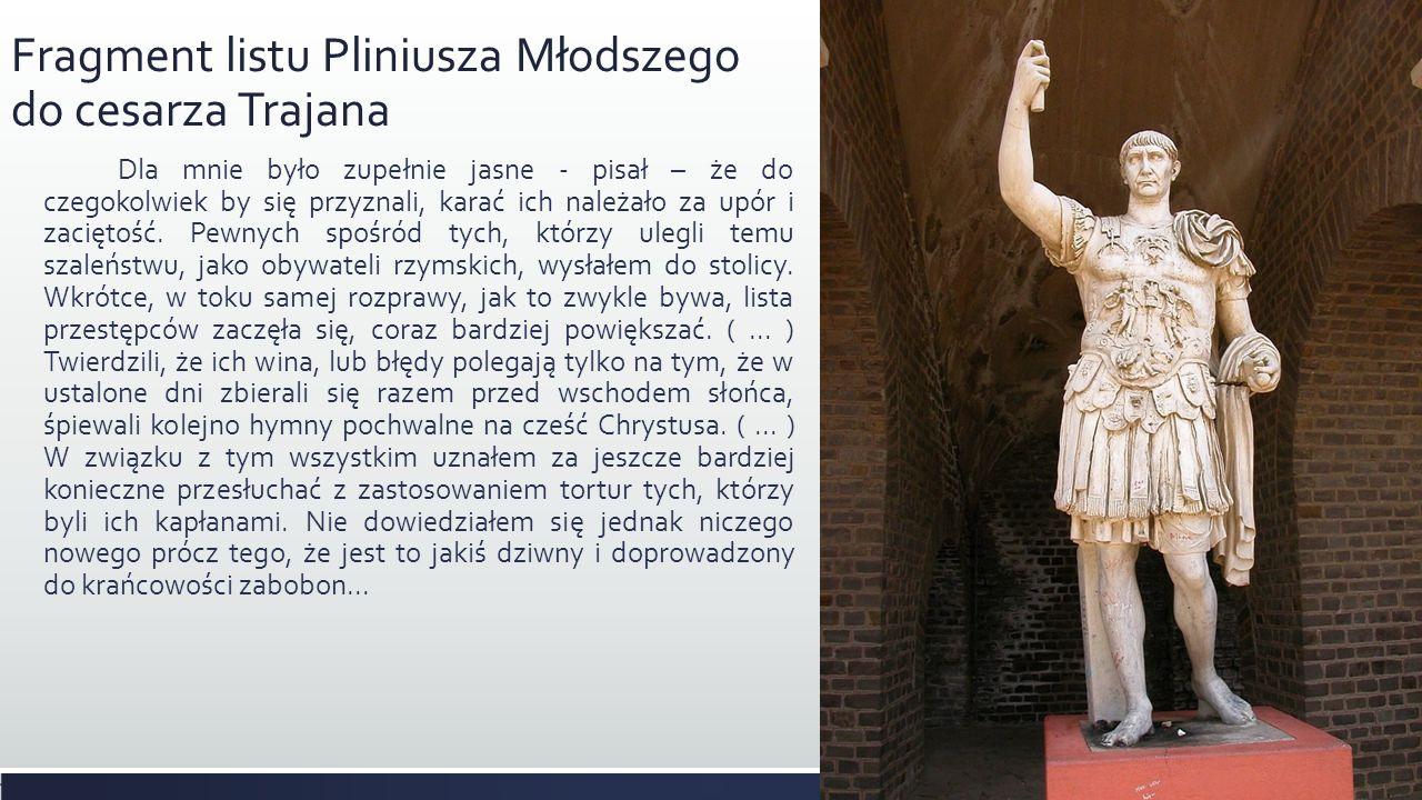 Fragment listu Pliniusza Młodszego do cesarza Trajana