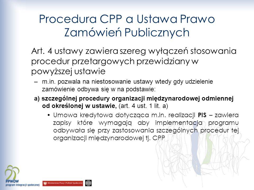 Procedura CPP a Ustawa Prawo Zamówień Publicznych