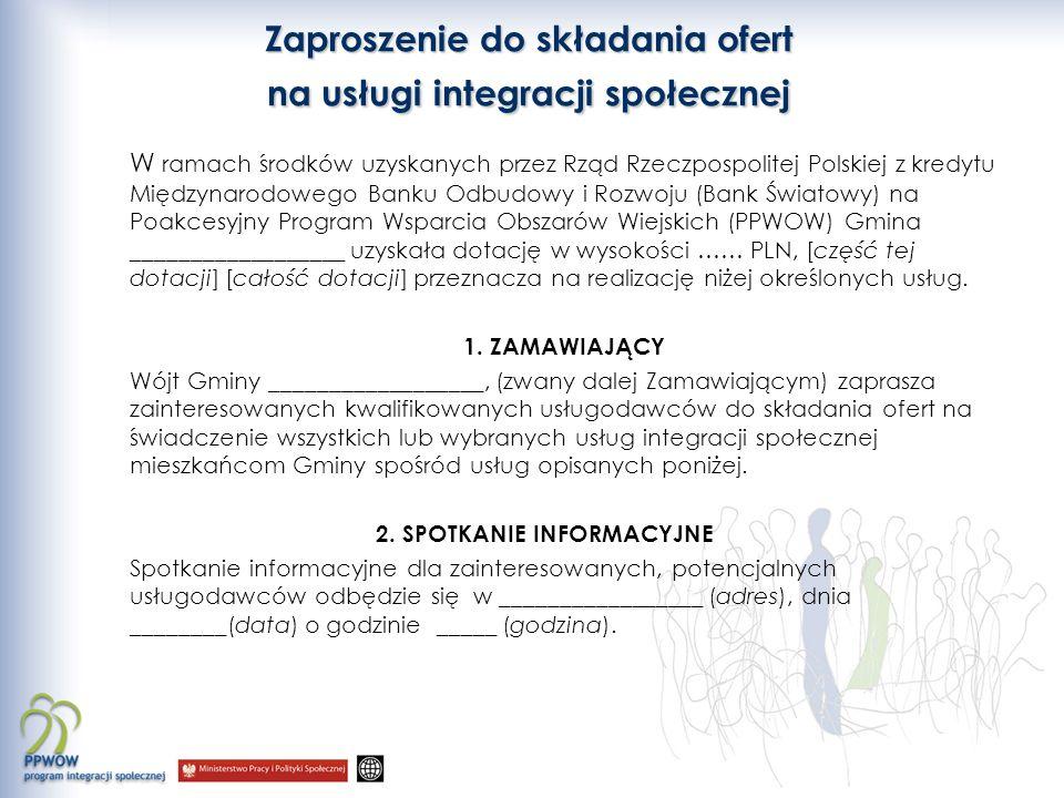 Zaproszenie do składania ofert na usługi integracji społecznej