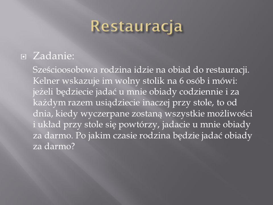 Restauracja Zadanie: