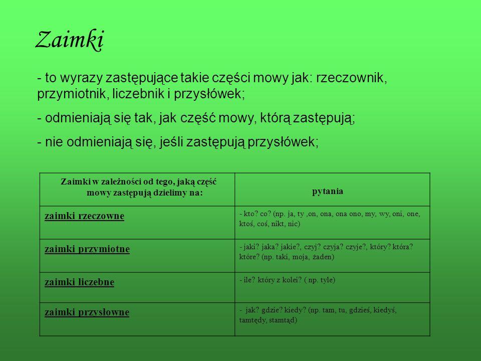 Zaimki to wyrazy zastępujące takie części mowy jak: rzeczownik, przymiotnik, liczebnik i przysłówek;