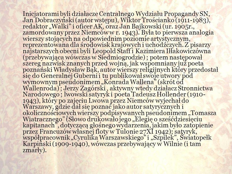 """Inicjatorami byli działacze Centralnego Wydziału Propagandy SN, Jan Dobraczyński (autor wstępu), Wiktor Trościanko (1911-1983), redaktor """"Walki i oficer AK, oraz Jan Bajkowski (ur."""