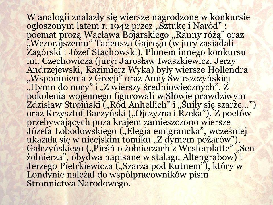 W analogii znalazły się wiersze nagrodzone w konkursie ogłoszonym latem r.