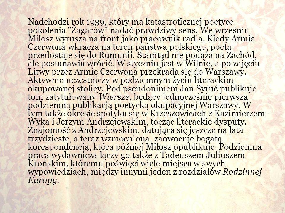 Nadchodzi rok 1939, który ma katastroficznej poetyce pokolenia Żagarów nadać prawdziwy sens.