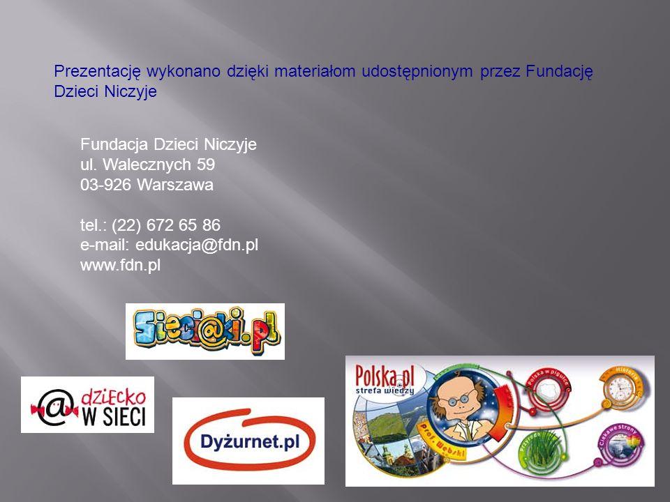 Prezentację wykonano dzięki materiałom udostępnionym przez Fundację Dzieci Niczyje