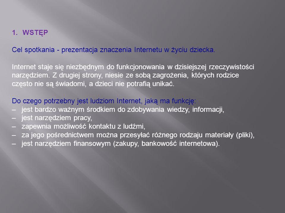 WSTĘP Cel spotkania - prezentacja znaczenia Internetu w życiu dziecka.