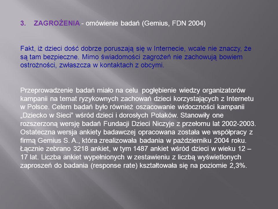 3. ZAGROŻENIA - omówienie badań (Gemius, FDN 2004)