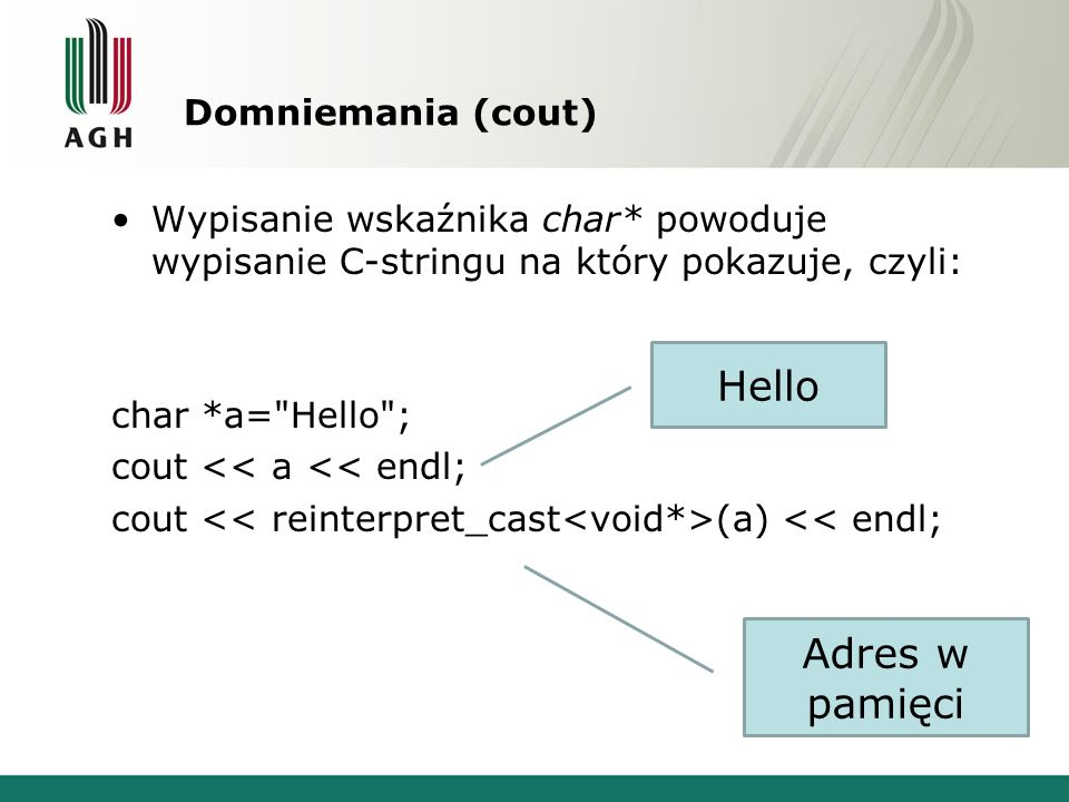 Hello Adres w pamięci Domniemania (cout)