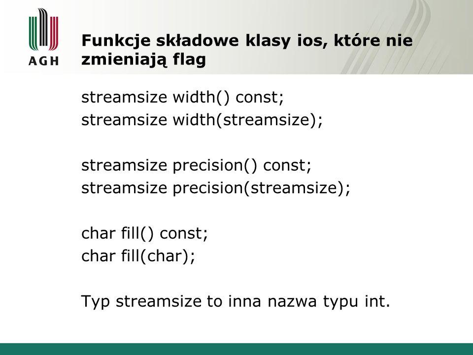 Funkcje składowe klasy ios, które nie zmieniają flag