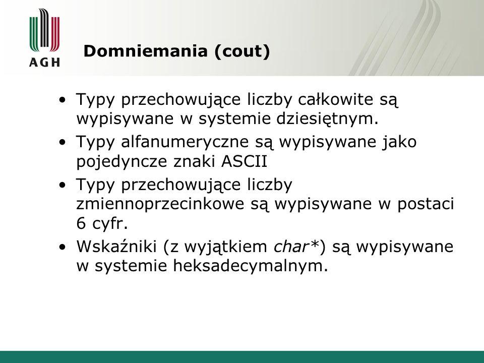 Domniemania (cout) Typy przechowujące liczby całkowite są wypisywane w systemie dziesiętnym.