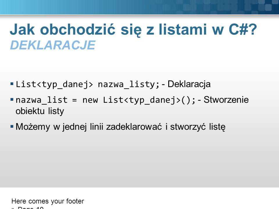 Jak obchodzić się z listami w C# DEKLARACJE
