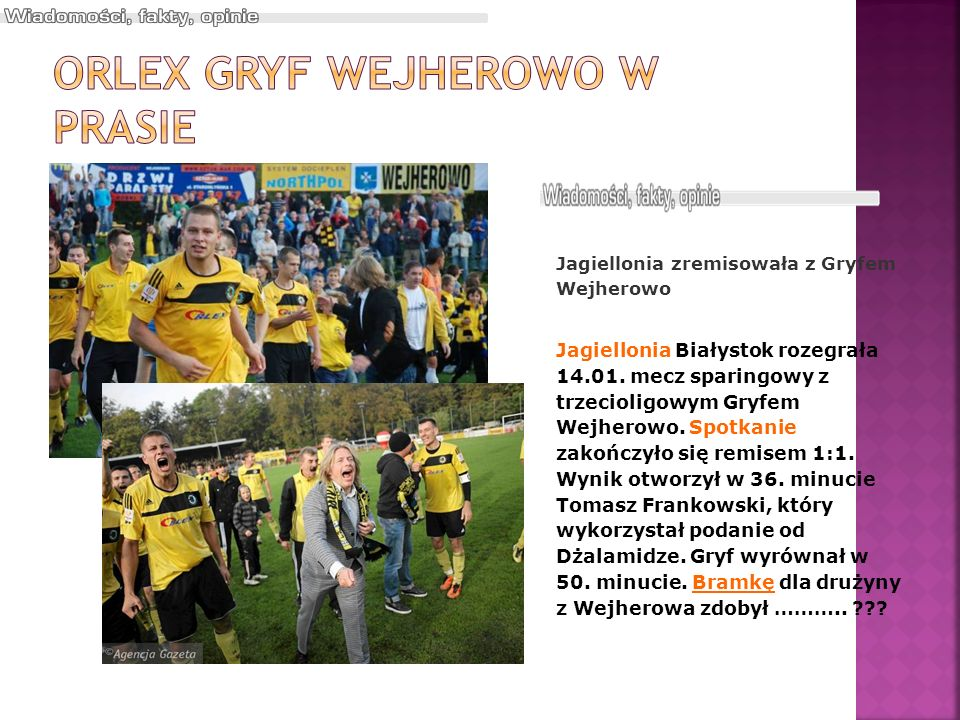 Orlex Gryf Wejherowo w prasie