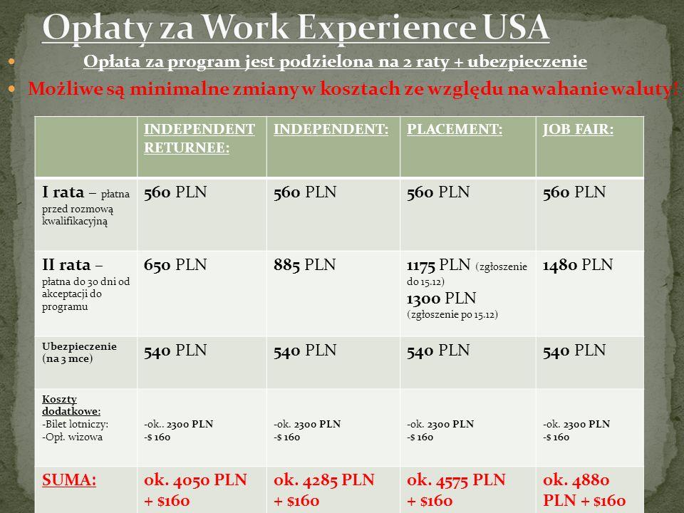 Opłaty za Work Experience USA