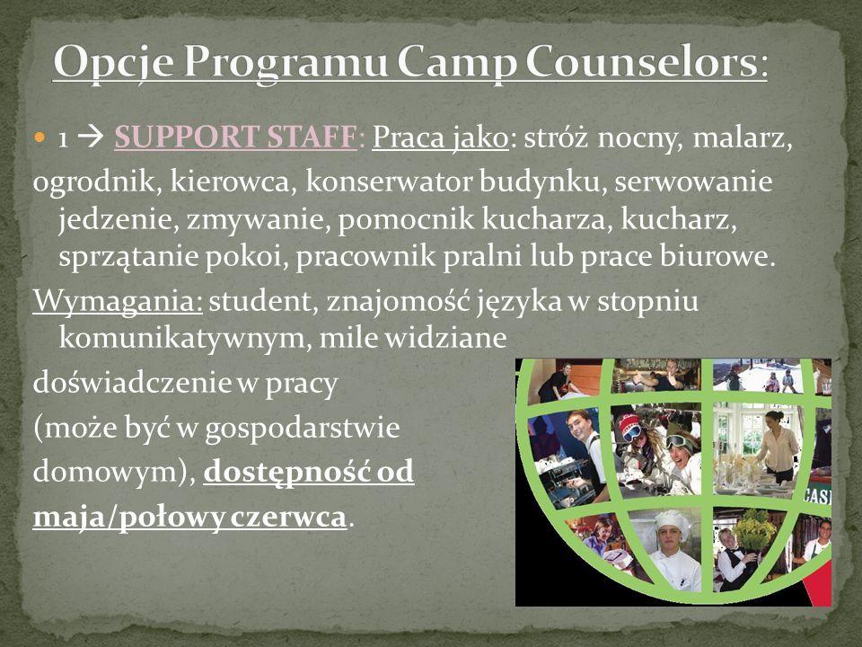 Opcje Programu Camp Counselors: