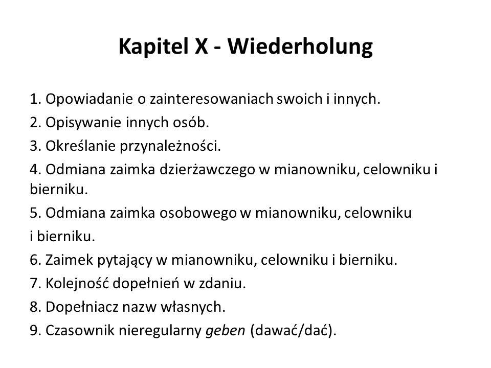 Kapitel X - Wiederholung