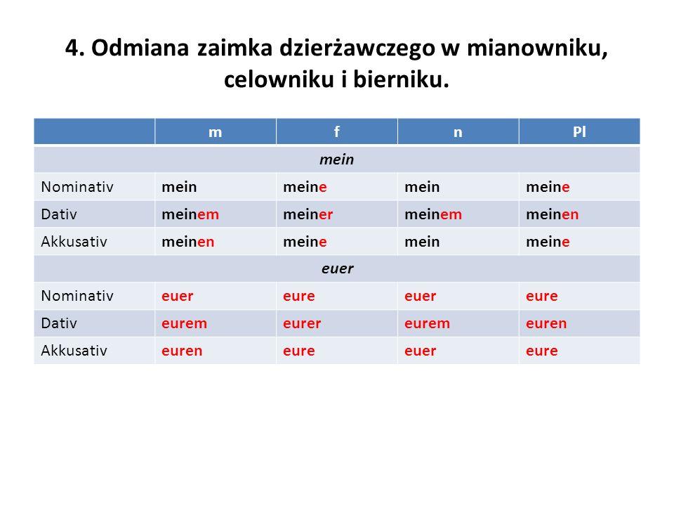 4. Odmiana zaimka dzierżawczego w mianowniku, celowniku i bierniku.