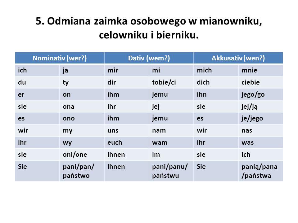 5. Odmiana zaimka osobowego w mianowniku, celowniku i bierniku.
