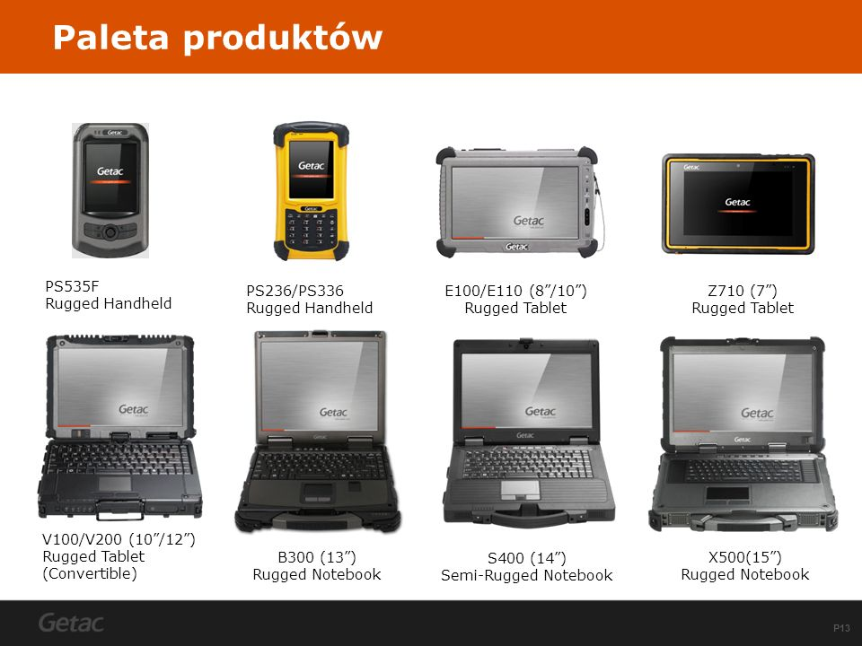 Paleta produktów B300 (13 ) Rugged Notebook S400 (14 )