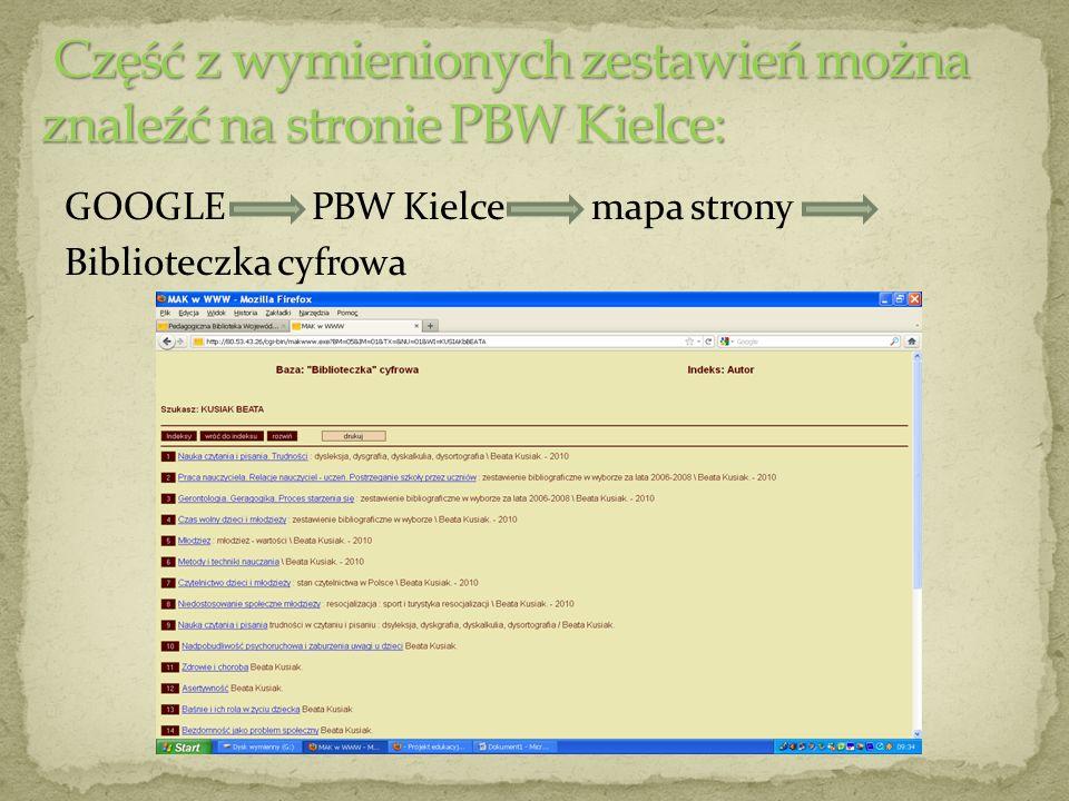 Część z wymienionych zestawień można znaleźć na stronie PBW Kielce: